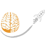 Eigenfactor logo: a human brain outline in orange with a small grey spaceship passing under it to the right
